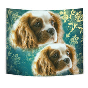 Cavalier King Charles Spaniel On Blue Print Tapestry-Free Shipping
