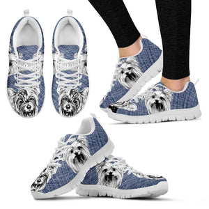 Yorkshire Sketch Print (Black/White) Running Shoes For Women-Free Shipping