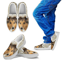 Shetland Sheepdog Print Slip Ons For Kids - Express Shipping