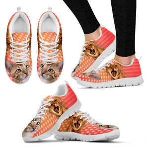 Toyger Cat Print (White/Black) Running Shoes For Women-Free Shipping