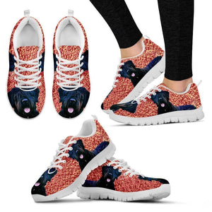 Bouvier Des Flandres Dog Print (Black/White) Running Shoes For Women-Free Shipping