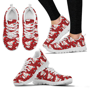 Maltese Dog Pattern Print Sneakers For Women- Express Shipping