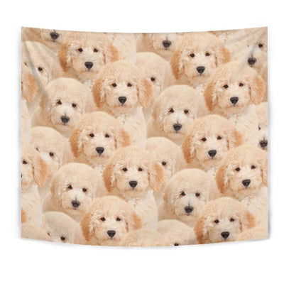 Golden Retriever In Lots Print Tapestry-Free Shipping