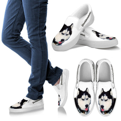 New Customized Siberian Husky Print Slip Ons For Women-Free Shipping