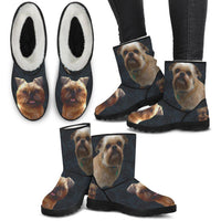 Brussels Griffon (Griffon Bruxellois) Print Faux Fur Boots For Women-Free Shipping