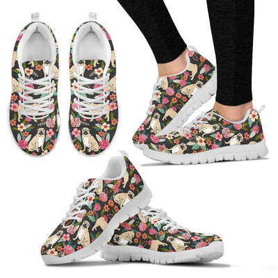 Pug Dog Floral Print Sneakers For Women- Free Shipping