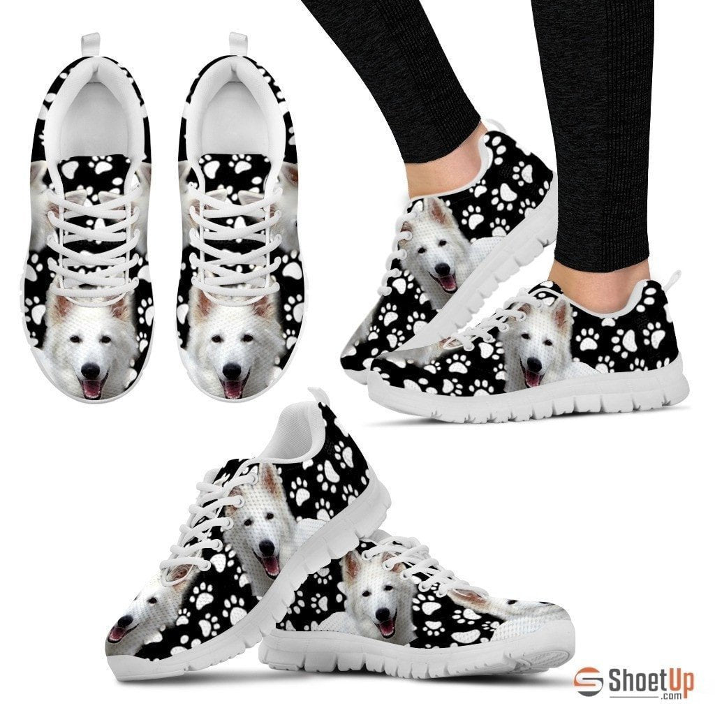 Dog  Paws Print (Black/White) Running Shoes For Women-Free Shipping