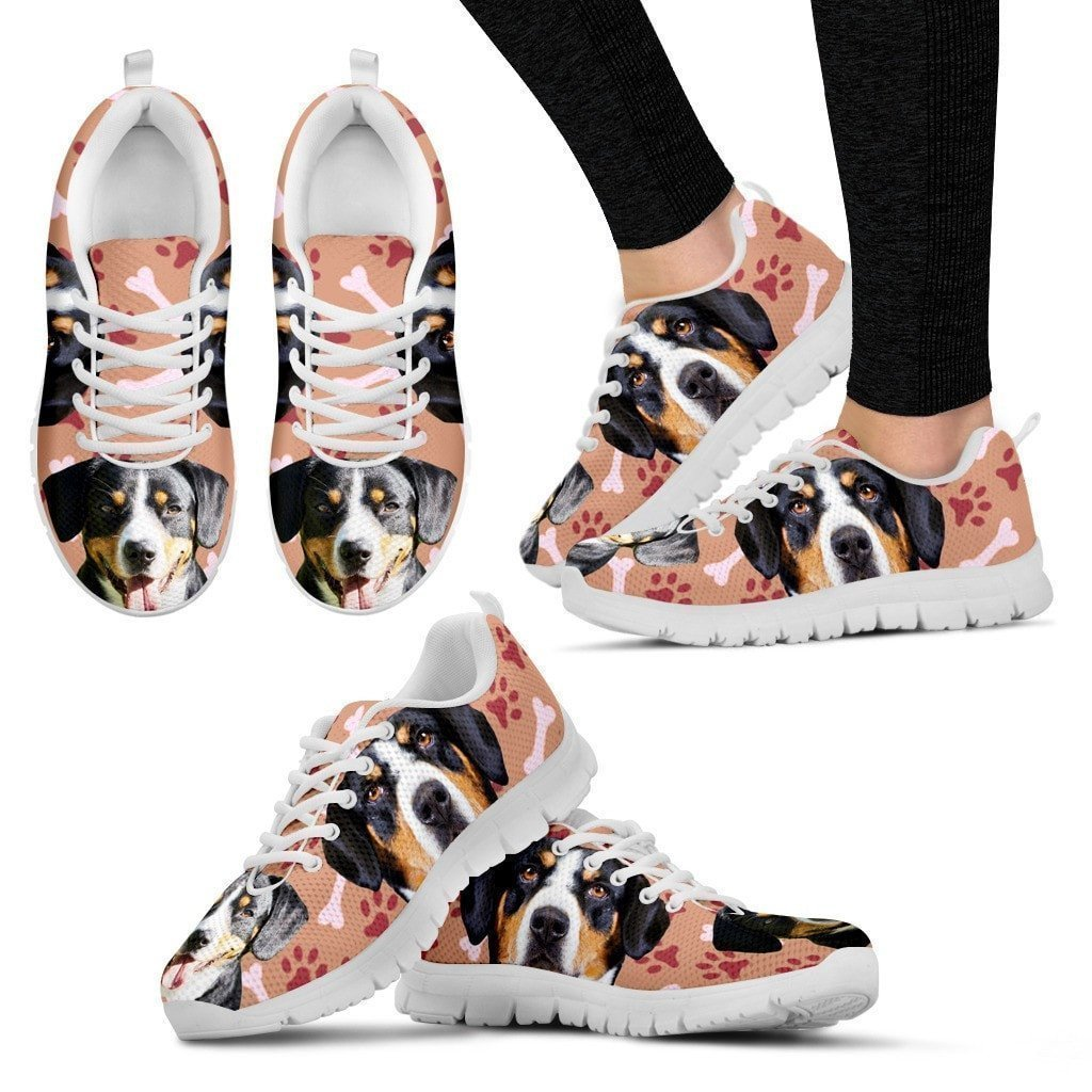 Entlebucher Mountain Dog Print Sneakers For Women(White/Black)- Express Shipping-Paww-Printz-Merchandise