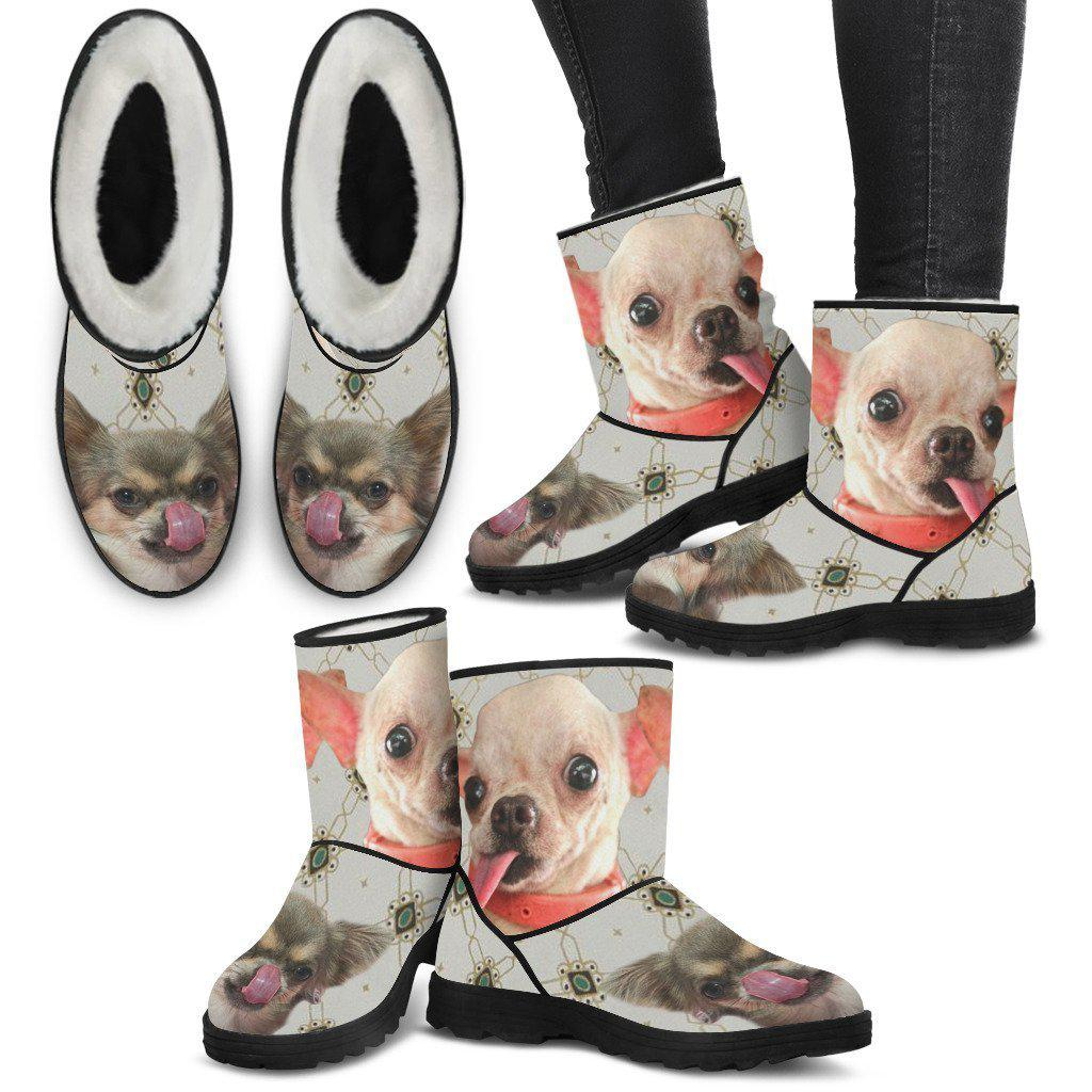 Cute Chihuahua Print Faux Fur Boots For Women-Free Shipping