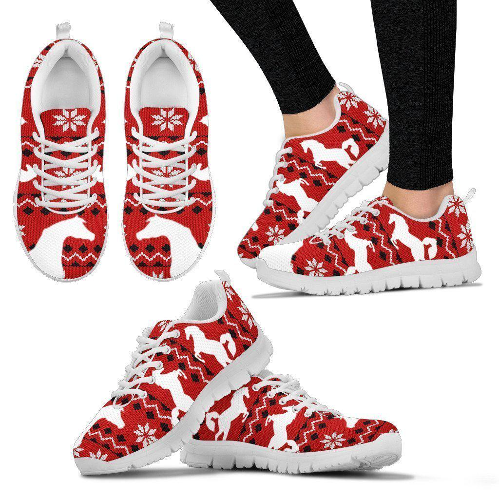 Arabian Horse Print Christmas Running Shoes For Women-Free Shipping-Paww-Printz-Merchandise