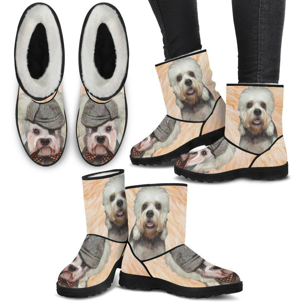 Dandie Dinmont Terrier Print Faux Fur Boots For Women- Free Shipping