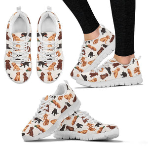 Labrador In Tricolor Pattern Print Sneakers For Women- Express Shipping