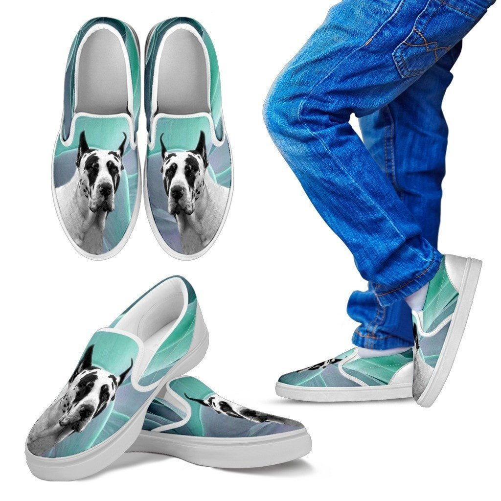 Great Dane Dog Print Slip Ons For Kids-Express Shipping