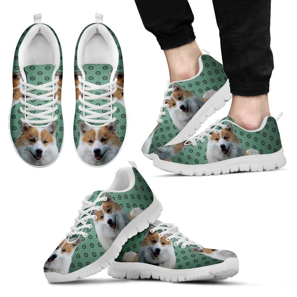 Icelandic Sheepdog Print (White/Black) Running Shoes For Men-Express Shipping