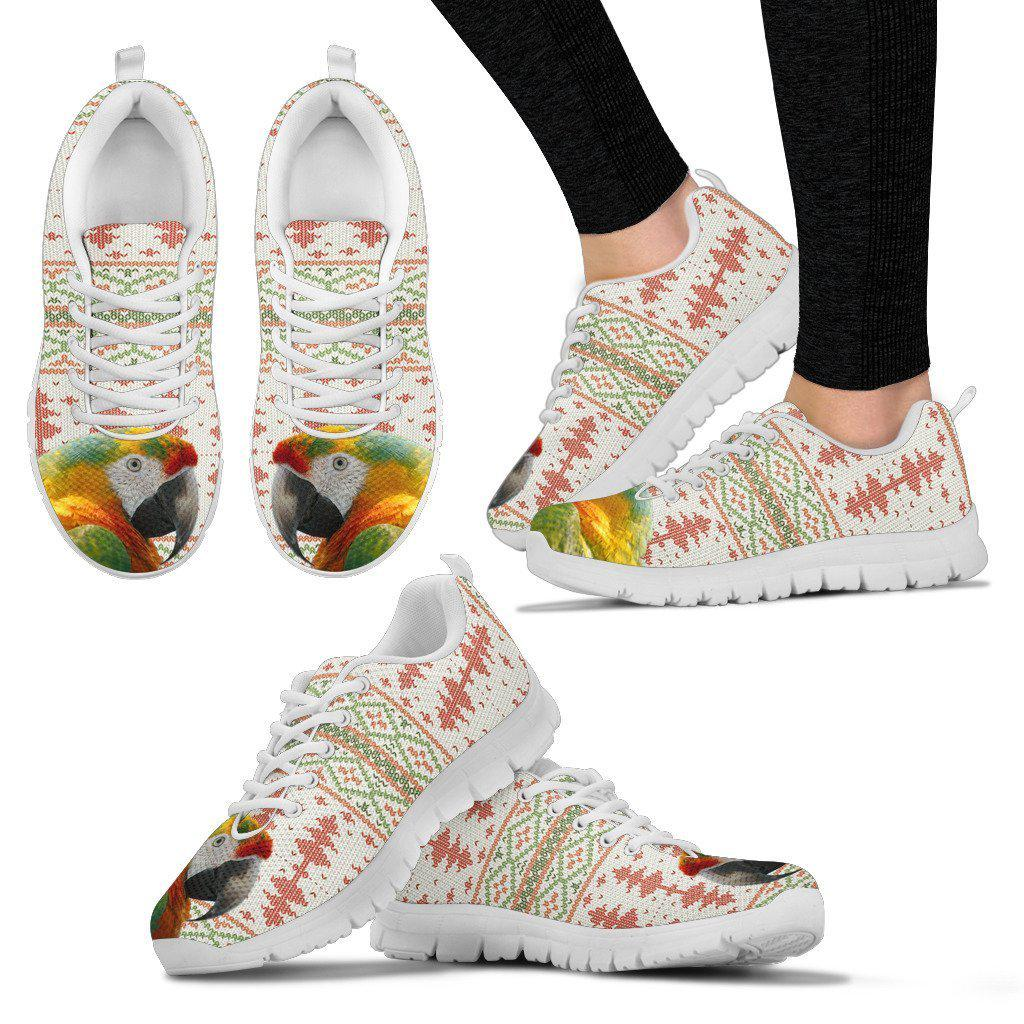 Yellow and Green Macaw Parrot Print Christmas Running Shoes For Women-Free Shipping