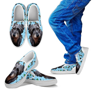 Irish Wolfhound Print Slip Ons For Kids- Express Shipping