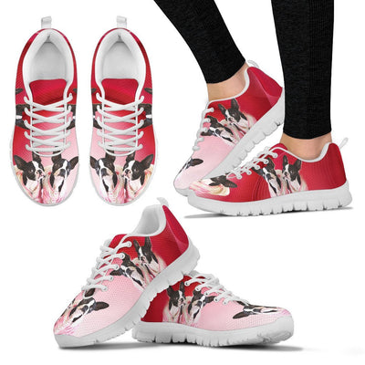 Valentine's Day Special Cute Boston Terrier On Red Print Running Shoes For Women- Free Shipping