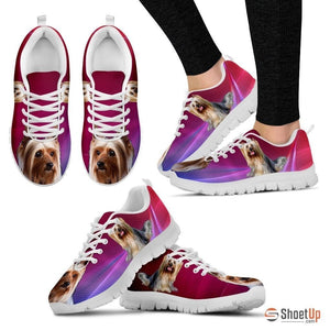 Cute Silky Terrier Print Sneakers For Women(White/Black)- Free Shipping