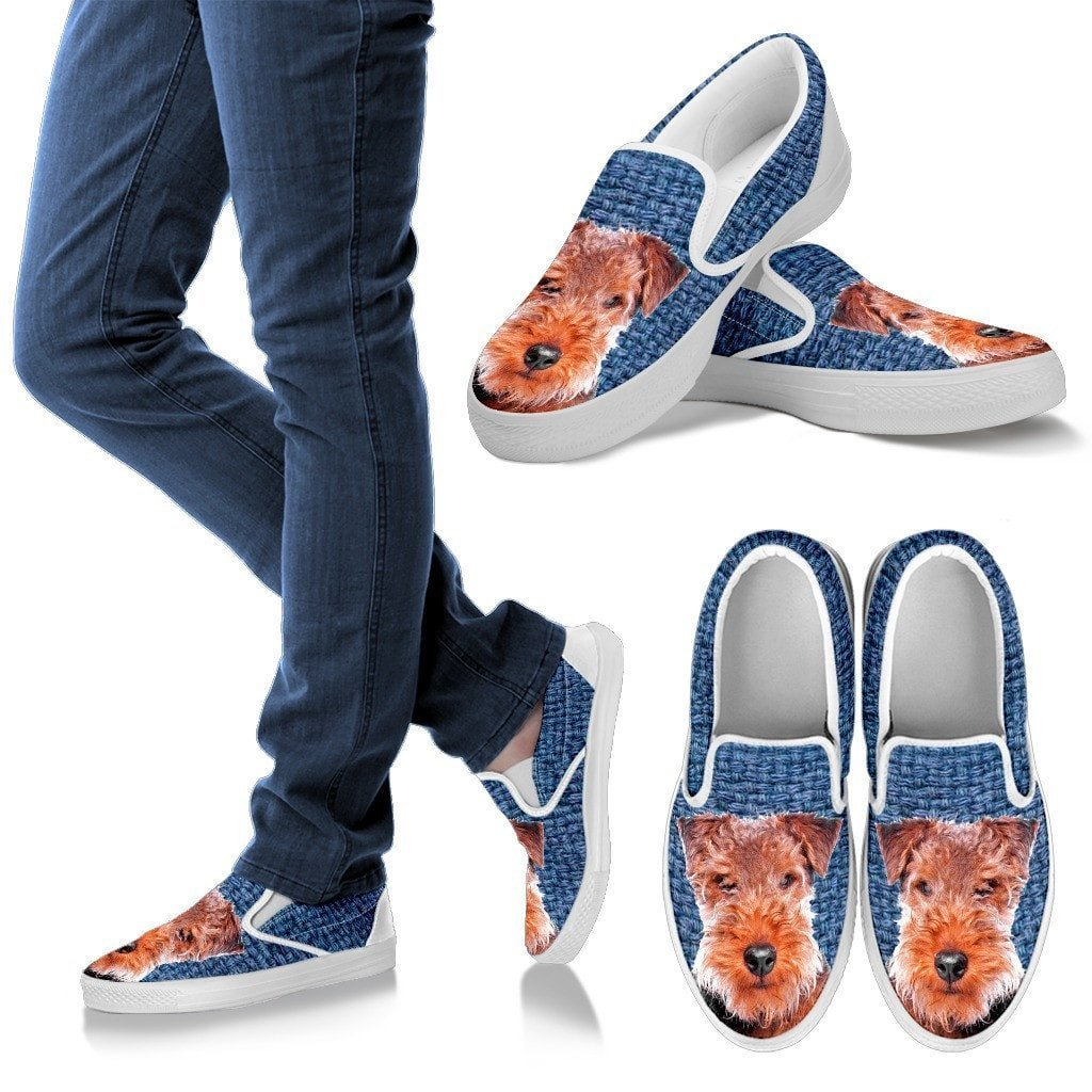 Welsh Terrier Dog Print Slip Ons For Women-Express Shipping