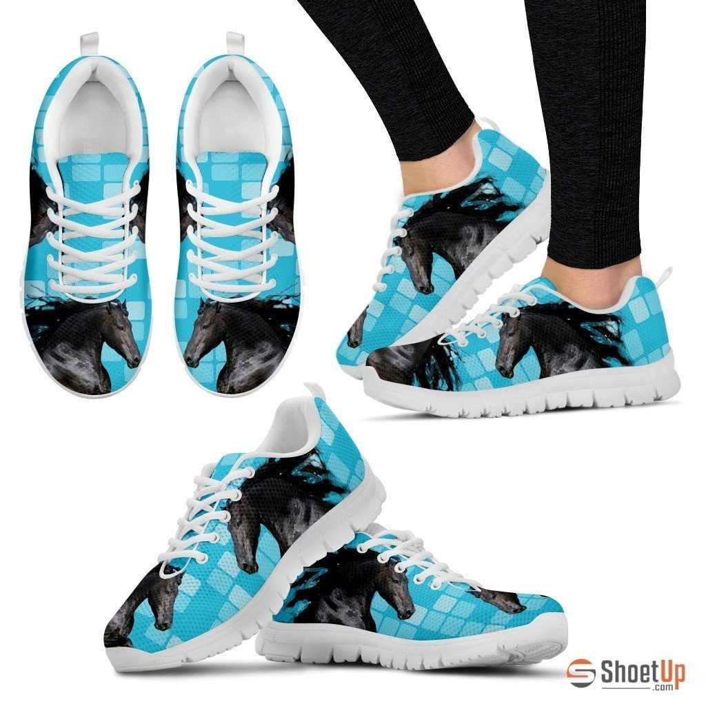 Andalusian Horse Print (Black/White) Running Shoes For Women-Free Shipping