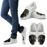 Black Labrador Print Slip Ons For Women-Express Shipping