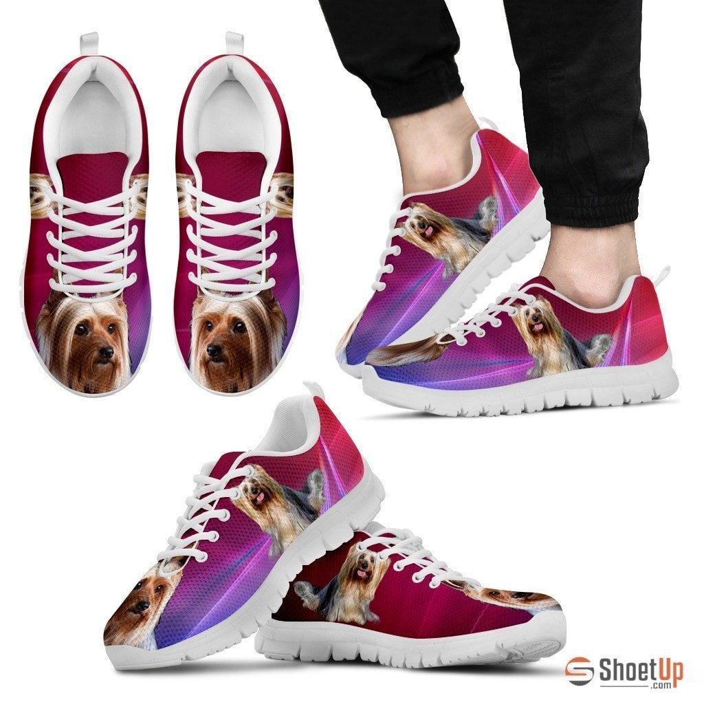 Cute Silky Terrier Print Sneakers For Men(WhiteBlack)- Free Shipping