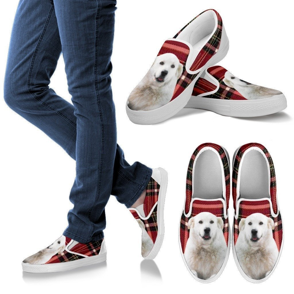 Kuvasz Dog Print Slip Ons For Women-Express Shipping