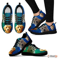 Beautiful Goldendoodle Print Sneakers For Women (White/ Black)- Free Shipping