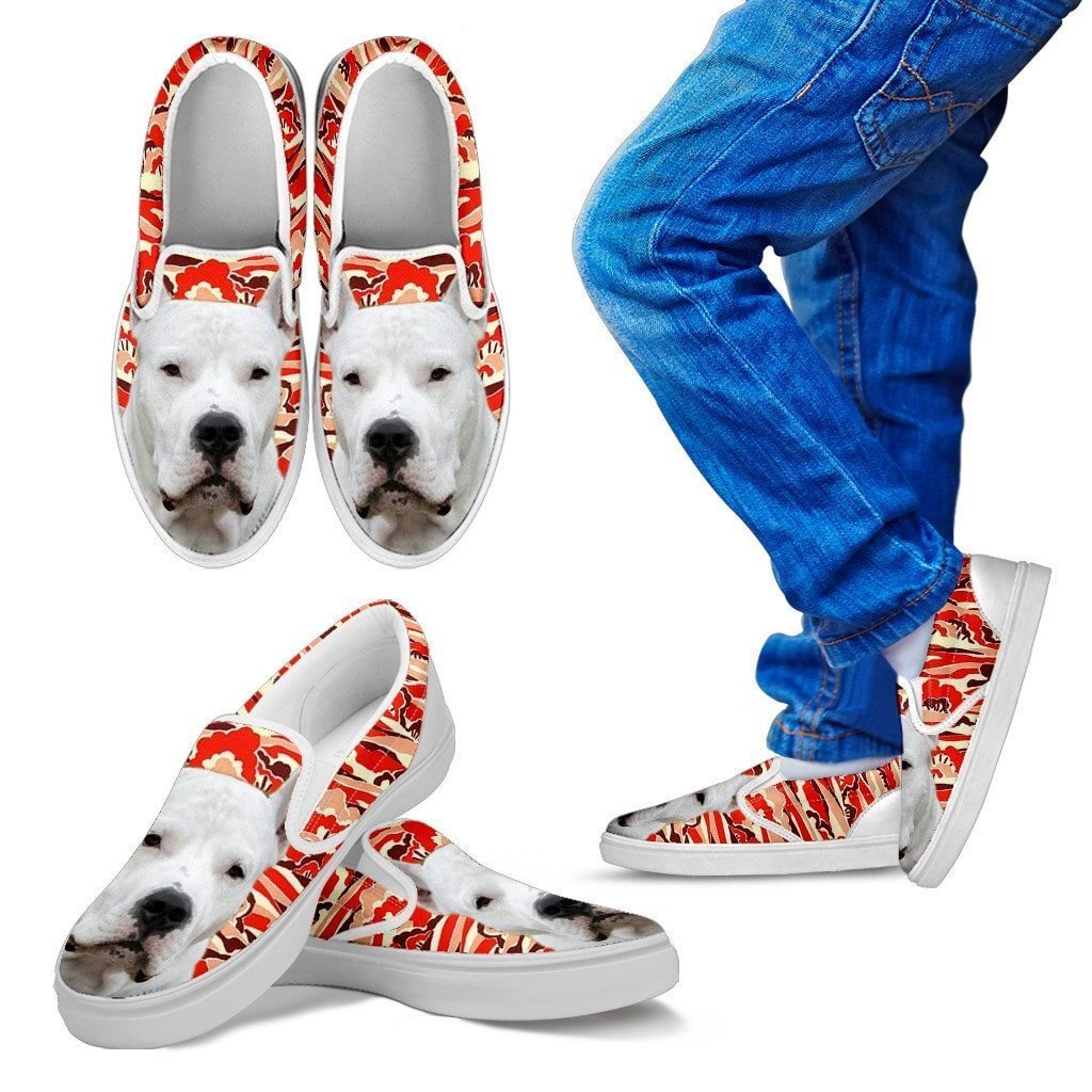 Dogo Argentino Print Slip Ons For Kids- Express Shipping