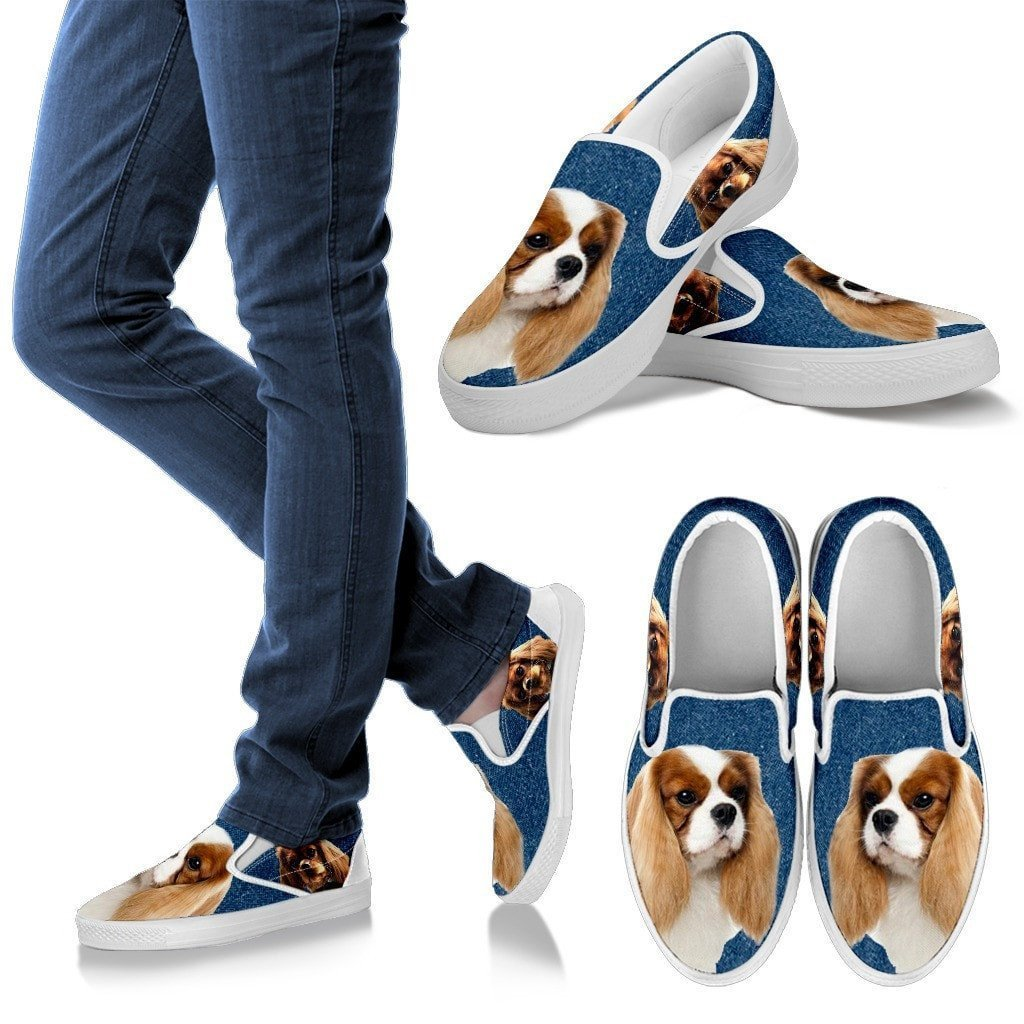 Cavalier King Charles Spaniel Dog Print Slip Ons For Women-Express Shipping