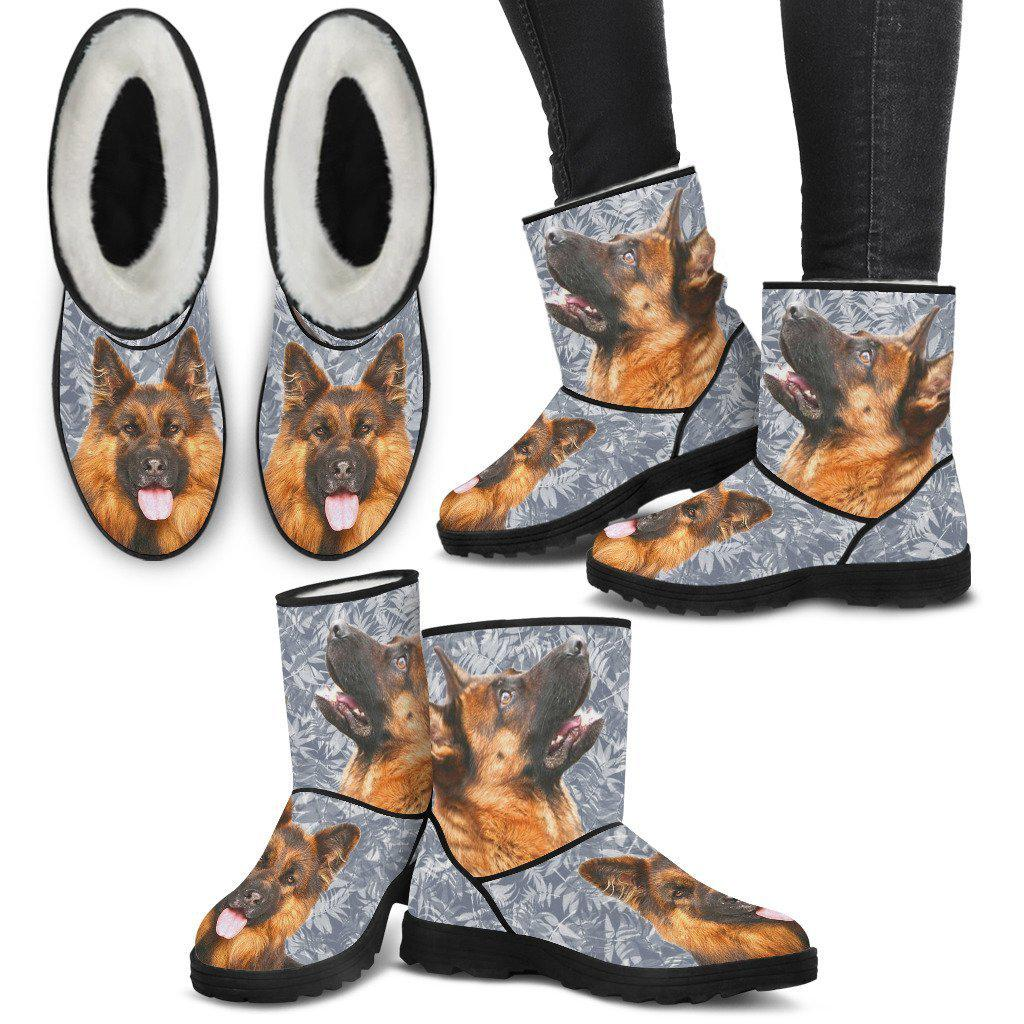 German Shepherd Print Faux Fur Boots For Women-Free Shipping
