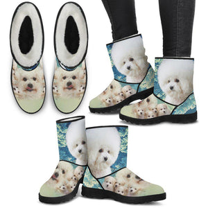 Cute Bichon Frise Print Faux Fur Boots For Women- Free Shipping