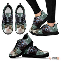 Scottish Fold Cat Print (White/Black) Running Shoes For Women-Free Shipping