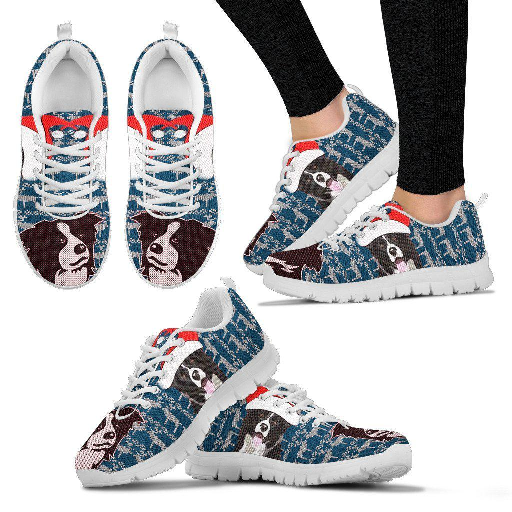 Border Collie Dog Print Christmas Running Shoes For Women-Free Shipping