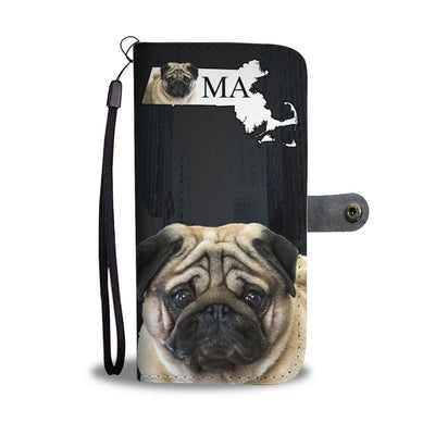 Pug Dog Print Wallet Case-Free Shipping-MA State