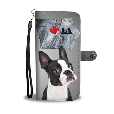 Cute Boston Terrier Print Wallet Case- Free Shipping-IA State
