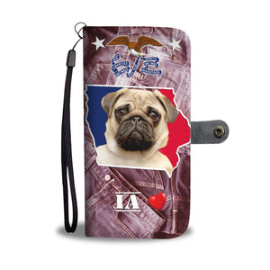 Lovely Pug Dog Print Wallet Case- Free Shipping-IA State