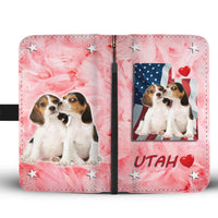 Lovely Beagle Dog Print Wallet Case- Free Shipping-UT State