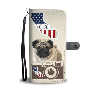 Pug Print Wallet Case-Free Shipping-CA State