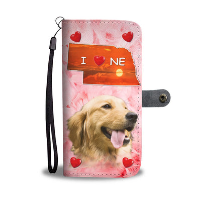 Golden Retriever On Pink Print Wallet Case-Free Shipping-NE State