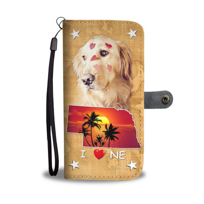 Cute Golden Retriever Print Wallet Case- Free Shipping-NE State