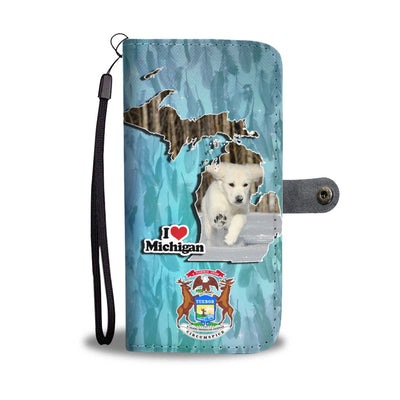 Cute Golden Retriever Puppy Print Wallet Case-Free Shipping-MI State