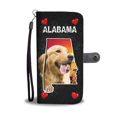 Golden Retriever On Black Print Wallet Case-Free Shipping-AL State