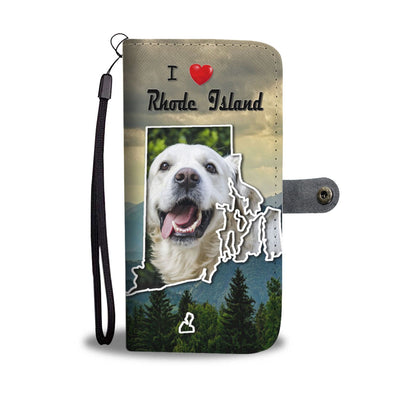 Cute Golden Retriever Print Wallet Case-Free Shipping-RI State