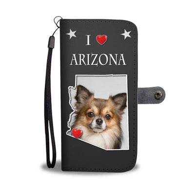 Cute Chihuahua On Black Print Wallet Case-Free Shipping-AZ State