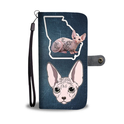 Sphynx Cat Print Wallet Case-Free Shipping-GA State