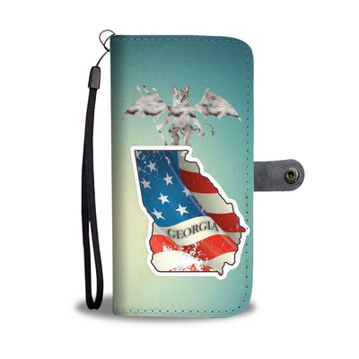 Egyptian Mau Cat Print Wallet Case-Free Shipping-GA State