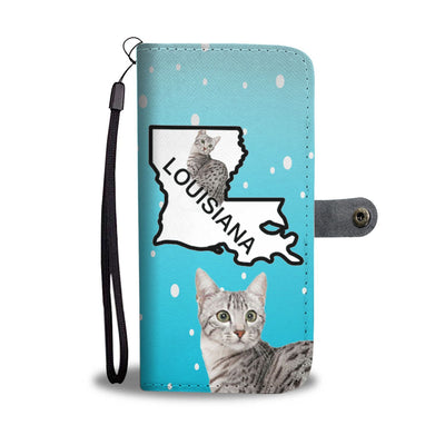 Egyptian Mau Cat Print Wallet Case-Free Shipping-LA State