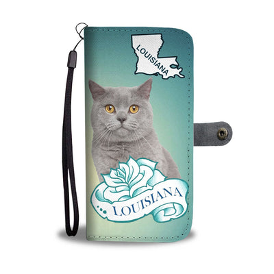 British Shorthair Cat Print Wallet Case-Free Shipping-LA State