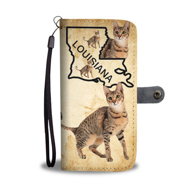 Savannah Cat Print Wallet Case-Free Shipping-LA State